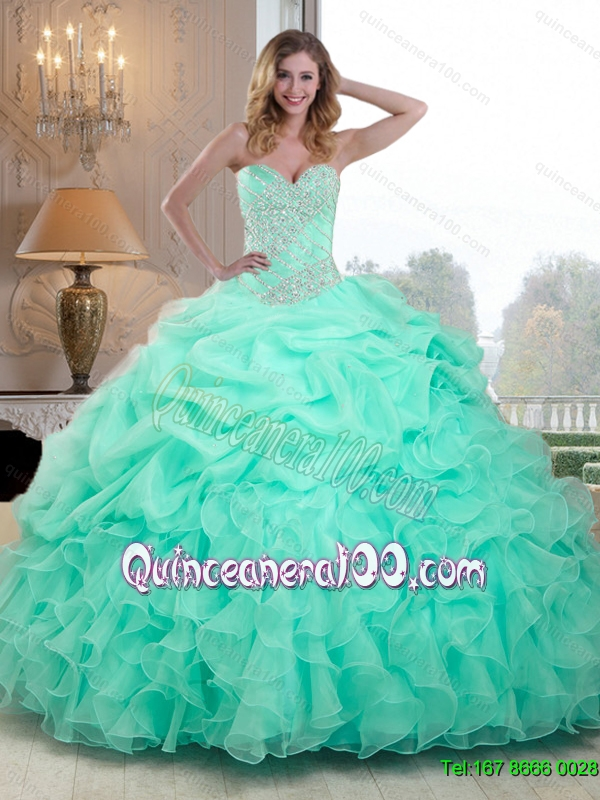 21560985a31 Summer 2015 Pretty Beaded and Ruffles Quinceanera Dresses in Apple Green.  triumph