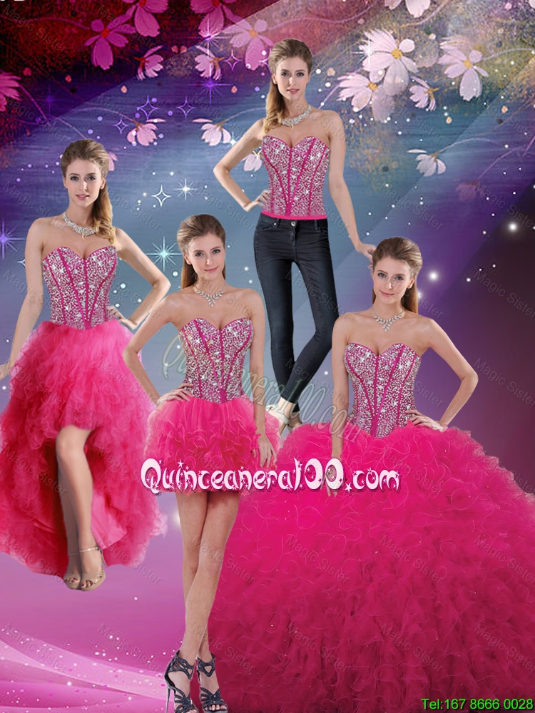 600881aa34d Pretty Sweetheart Beaded and Ruffles Detachable Quinceanera Dresses in Hot  Pink. triumph