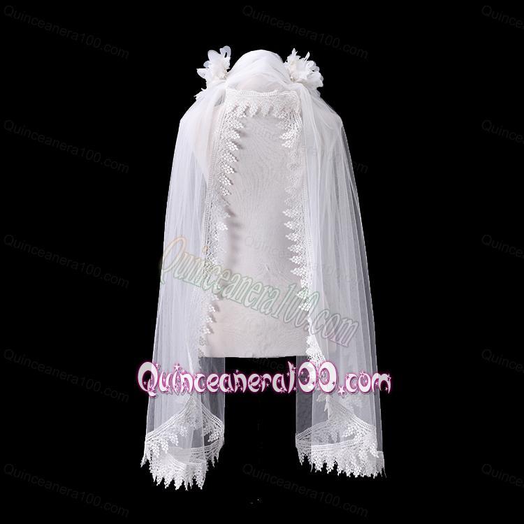 Cheap One Tier Lace Edge Drop Veil Wedding Veils