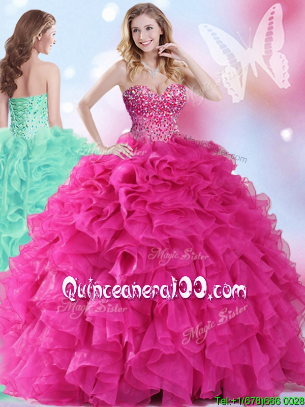 9e5f4ab5793 2017 Wonderful Hot Pink Big Puffy Quinceanera Dress with Beading and Ruffles.  triumph
