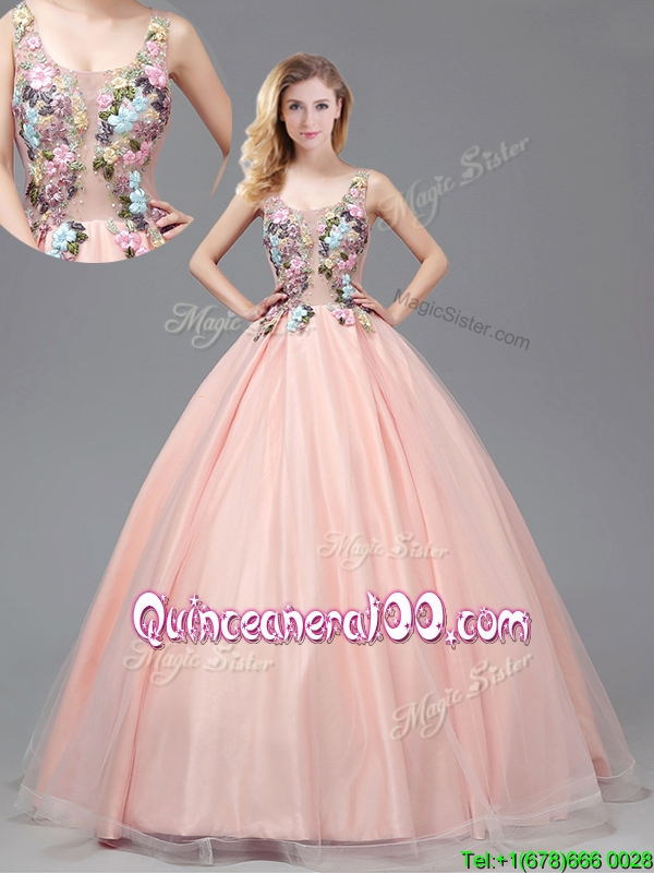 2017 Lovely See Through Criss Cross Quinceanera Gown With Applique