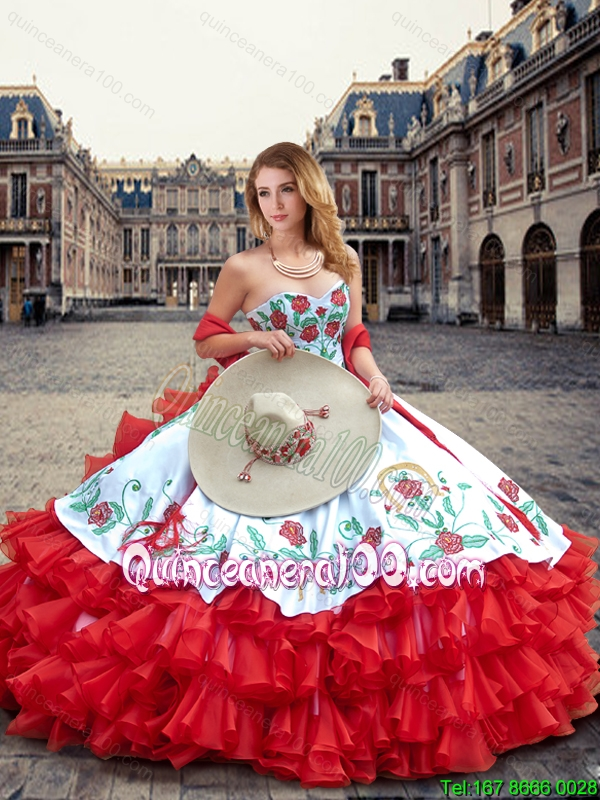 f73b31b5f54 Luxurious White and Red Quinceanera Dresses with Ruffled Layers and  Embroidery