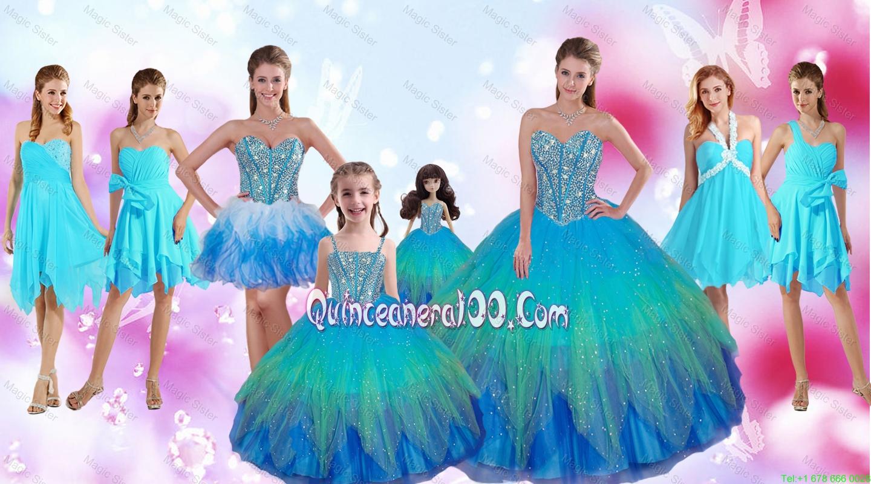 Perfect Beaded Multi Color Quinceanera Dresses and Aqua Blue Dama ...