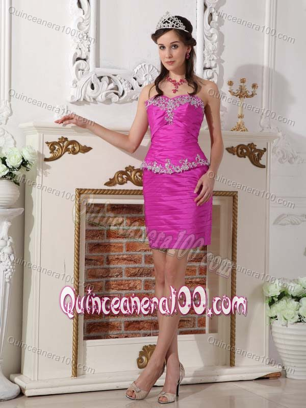 fuchsia taffeta floor dress quinceanera