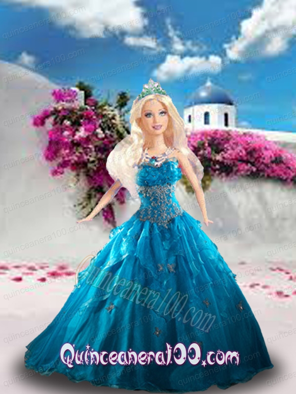 Blue Quinceanera Dress For Barbie Doll with Beading and Ruffles ...