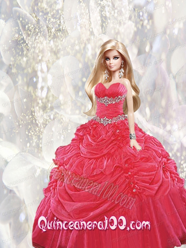 Beading and Pick-ups Quinceanera Dress For Barbie Doll in Red ...