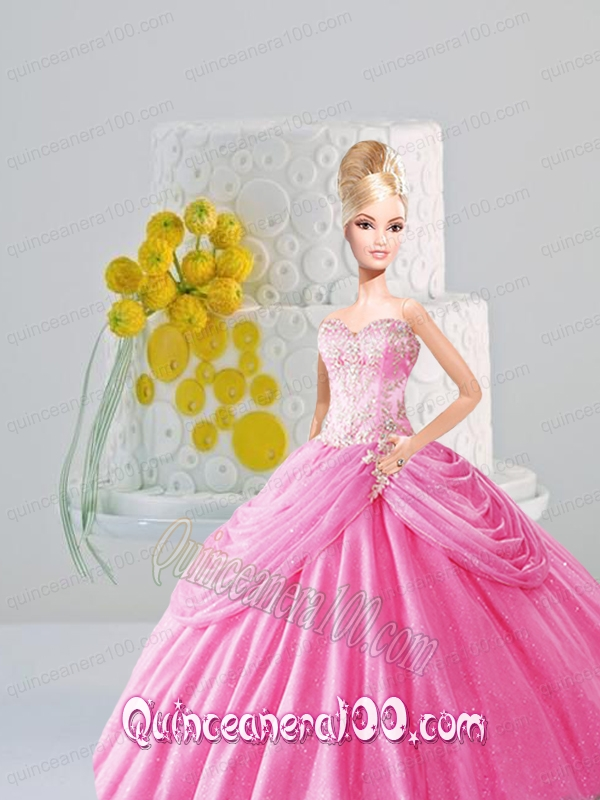 Appiques and Pick-ups Quinceanera Dress For Barbie Doll in Rose Pink ...