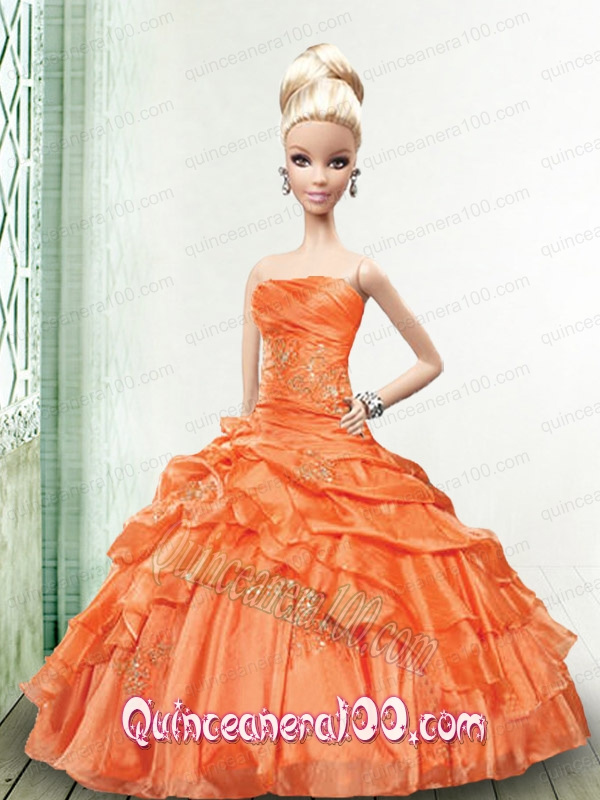 Appliques and Pick-ups Quinceanera Dress For Barbie Doll in Orange ...