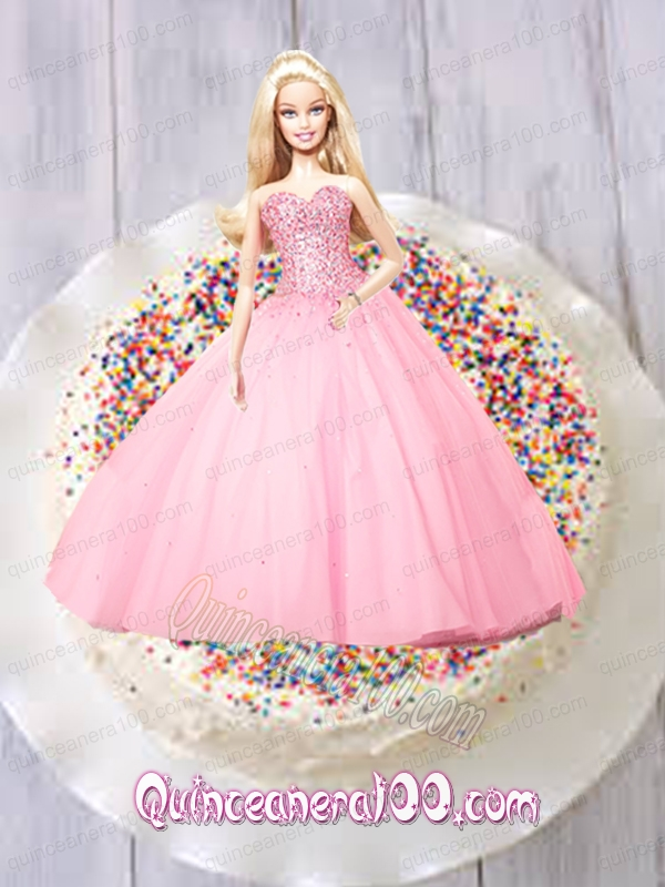 Baby pink quinceanera dress for barbie doll with beading quinceanera
