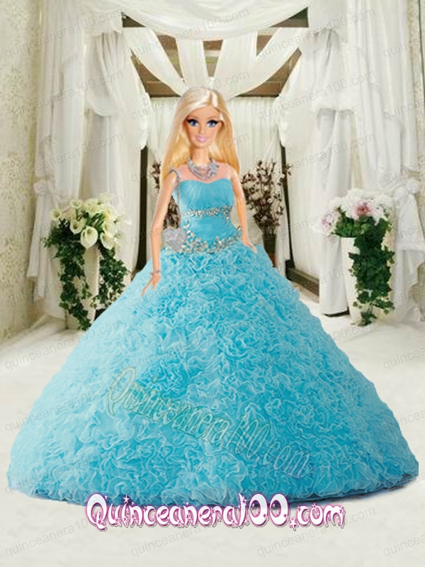 Turquoise Barbie House: Beading And Ruffles Quinceanera Dress For Barbie Doll In