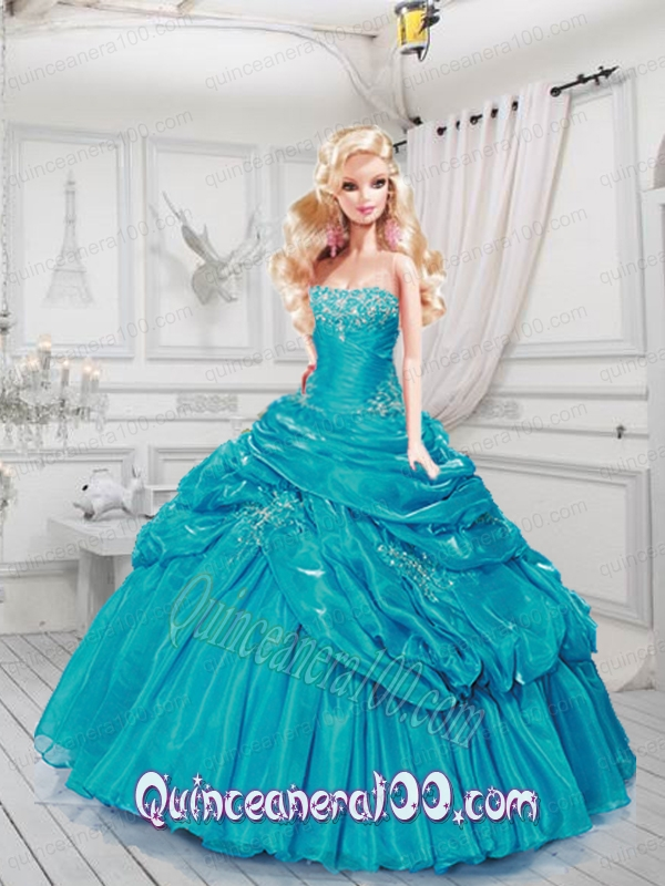 Turquoise Barbie House: Turquoise Quinceanera Dress For Barbie Doll With Ruffles