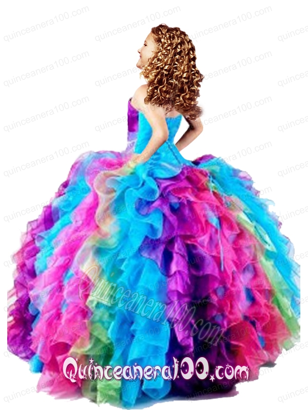 New Style Strapless Multi Color Little Girl Pageant Dress