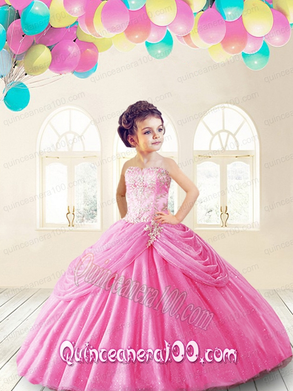 Lovely Rose Pink Little Girl Pageant Dress with Appliques and Pick ...