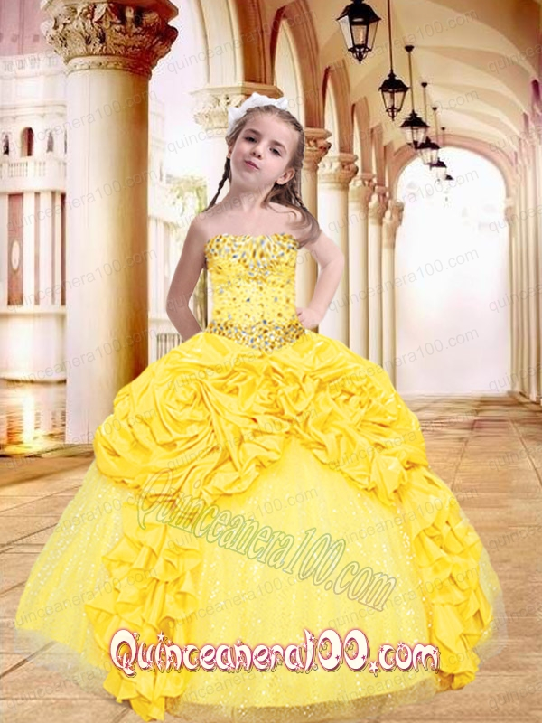 Luxurious Yellow Little Girl Pageant Dress with Beading and Pick-ups ...