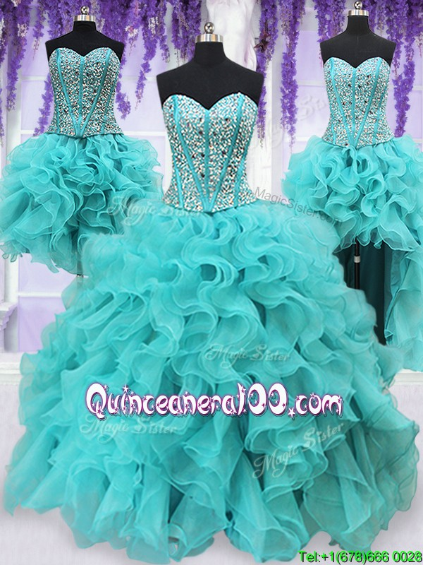 74c024d0751 Three Piece Visible Boning Beaded and Ruffled Aquamarine Detachable  Quinceanera Dress. triumph