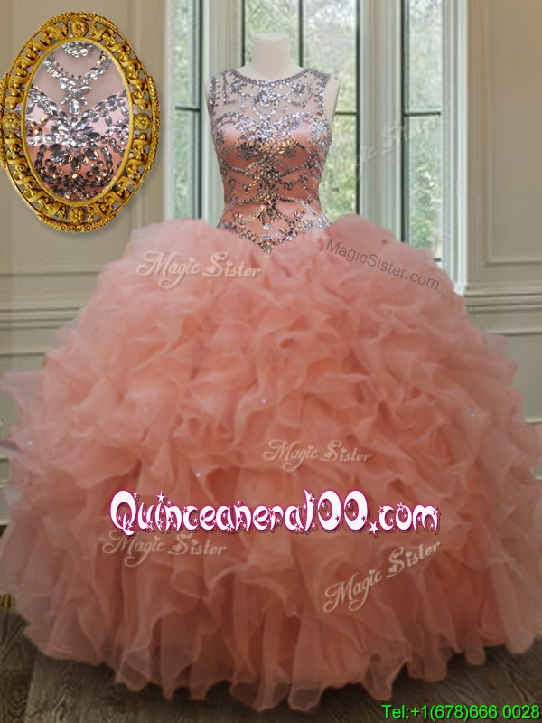 2017 Beautiful Beaded and Ruffled Quinceanera Dress with See Through Scoop