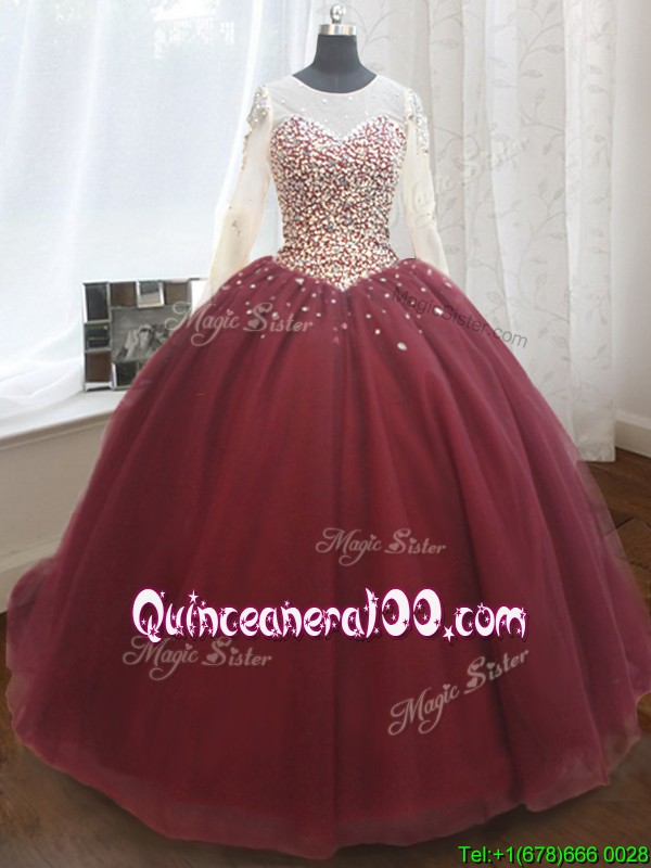 Elegant See Through Scoop Brush Train Quinceanera Dress