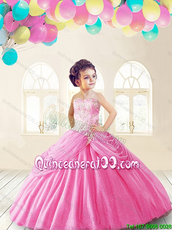 Lovely Rose Pink Mini Quinceanera Dresses with Appliques and Pick ...