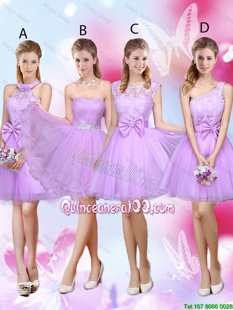 Cheap Simple A Line Strapless Lavender Dama Dresses with Belt ...