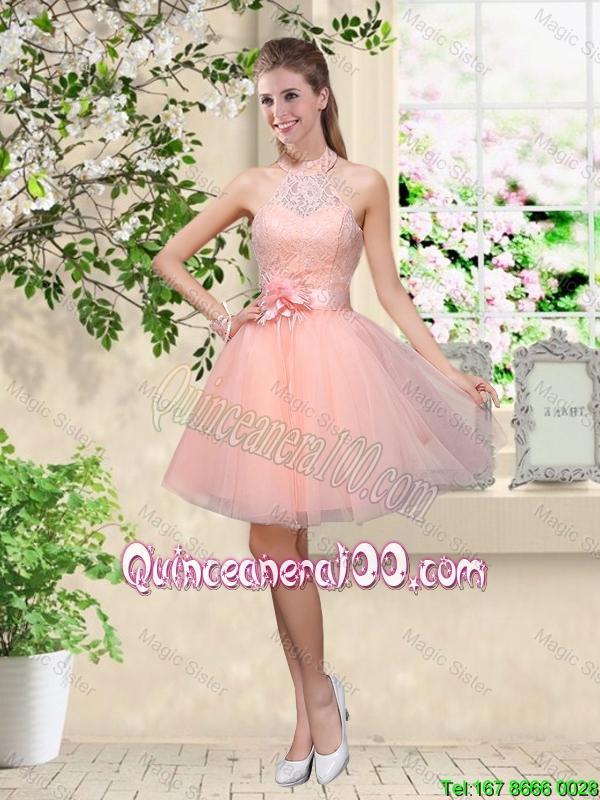 25f9c5e02e3 Cheap Artistic Halter Top Appliques and Laced Dama Dresses in Baby Pink.  triumph