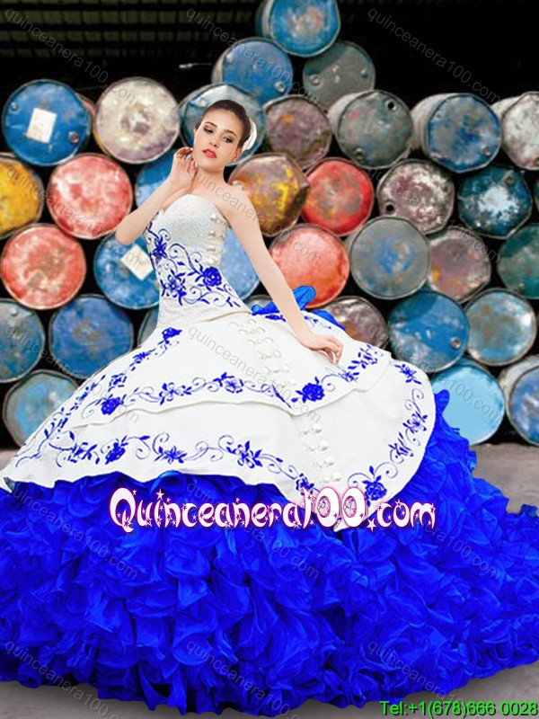 Wild West Pretty Organza and Taffeta Brush Train Quinceanera Gown in White and Blue