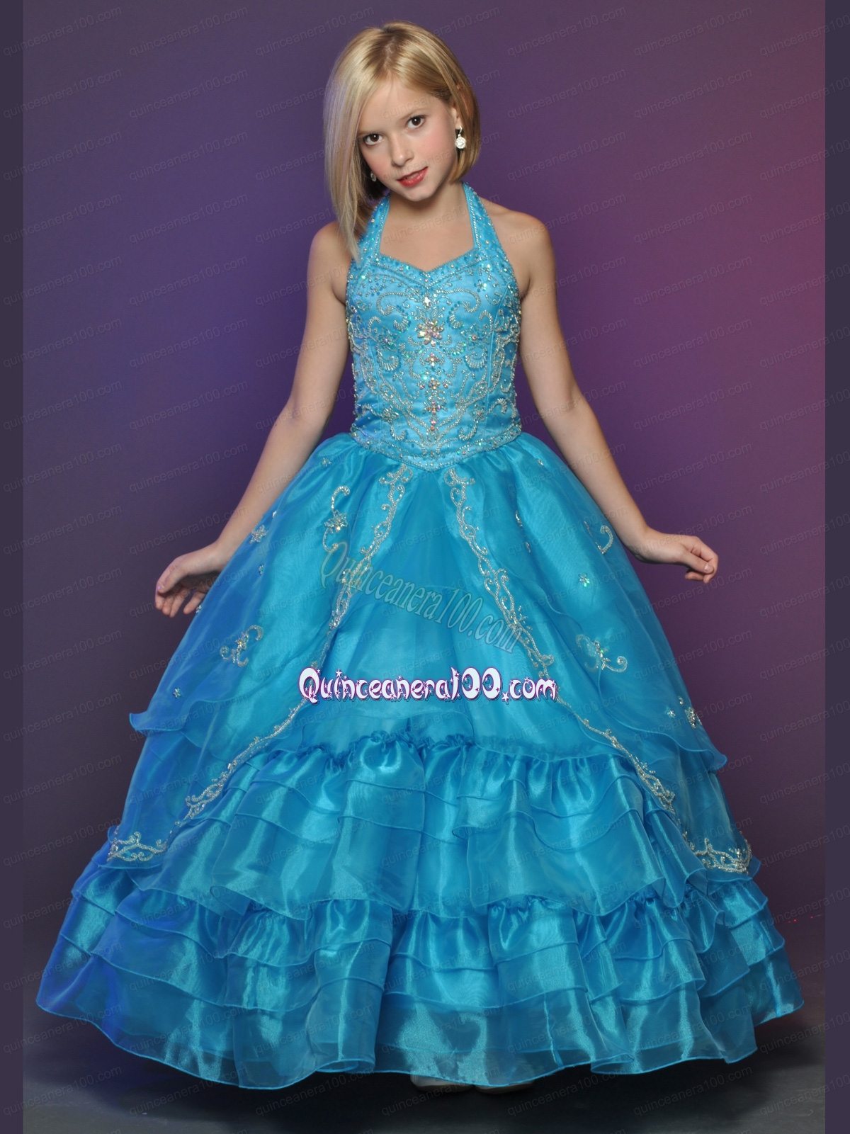 Blue Halter Top Appliques Little Girl Pageant Dress with Ruffles ...