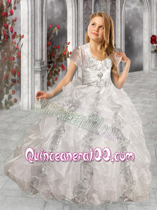 Elegant White Ball Gown Straps 2014 Little Girl Pageant Dress with ...