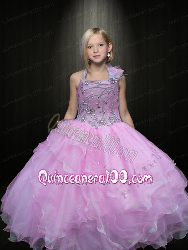 2014 Pretty Ball Gown Halter Beading Lilac Little Girl Pageant ...