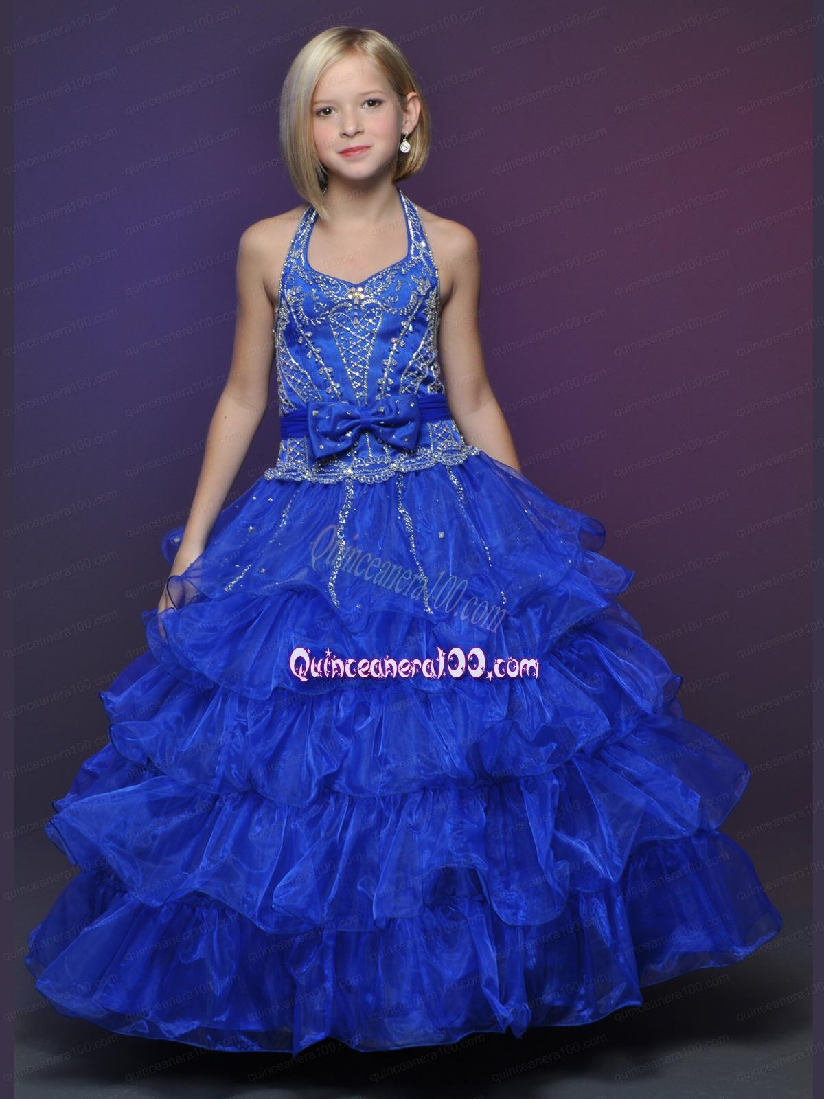 Único Blue Party Dress Girls Colección - Vestido de Novia Para Las ...