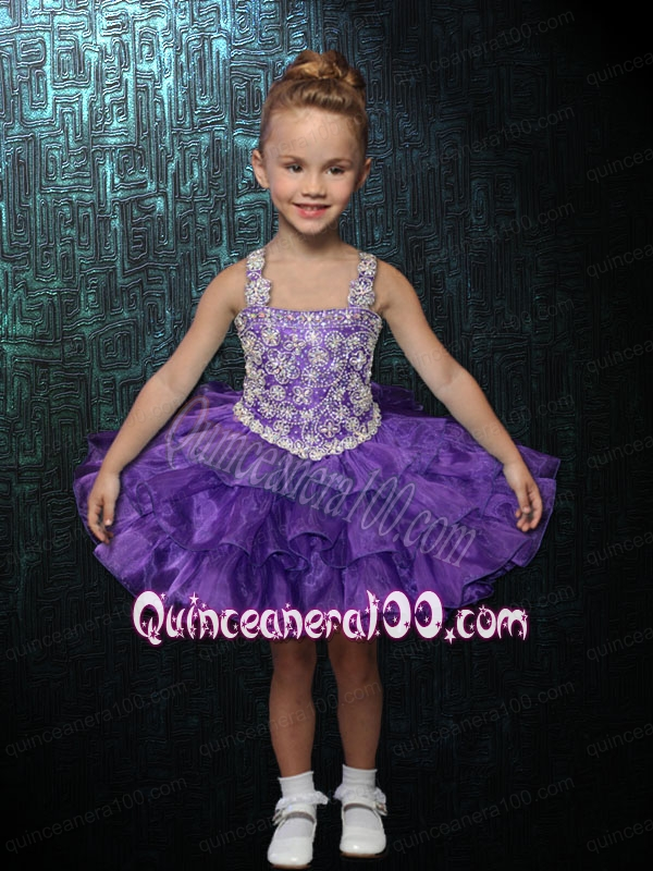2014 Formal Straps Ball Gown Purple Little Girl Dress with Beading and Ruffles