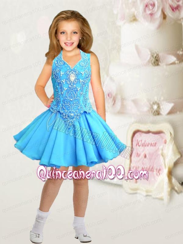 Formal V Neck A Line Aqua Blue Little Girl Dress With Beading