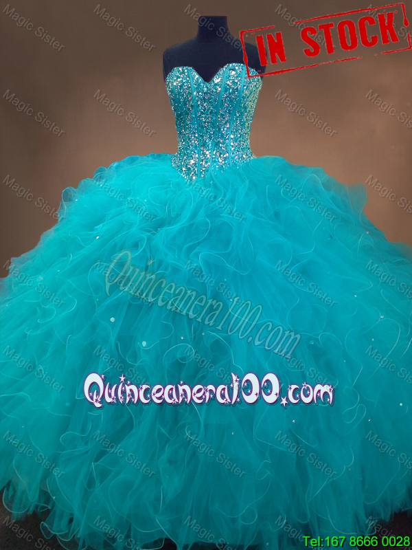 Elegant Beaded Bodice and Ruffled Tulle Quinceanera Gown in Teal