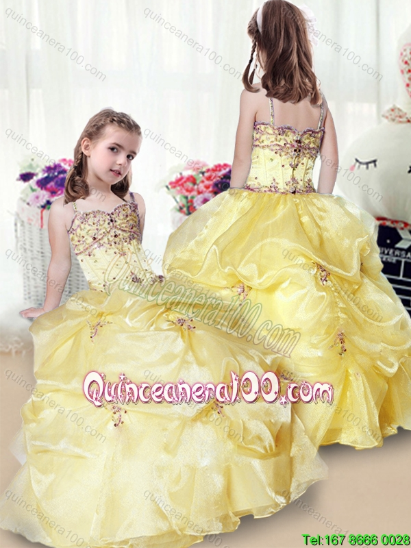 2016 Wonderful Beading and Appliques Yellow Little Girl Pageant ...