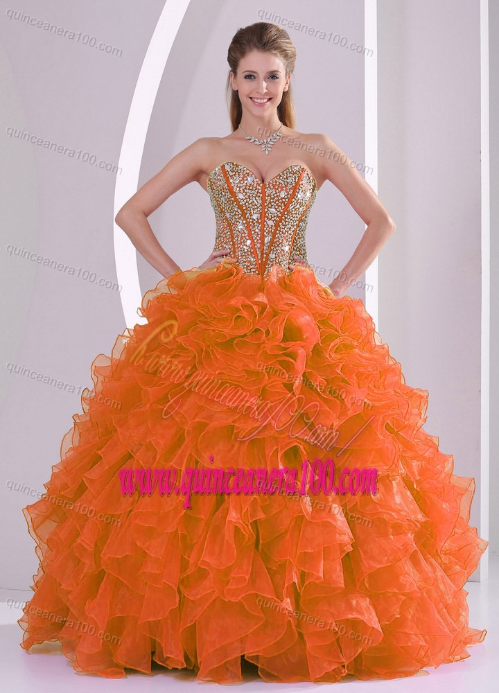 f8641f4a3f Elegant Ball Gown Sweetheart Ruffles and Beaded Decorate Quinceanera Gowns  in Sweet 16. triumph