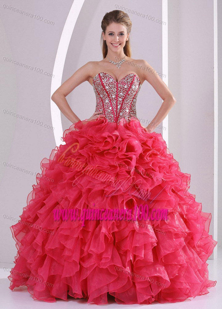 Hot Pink Ball Gown Sweetheart Ruffles and Beading Long Organza ...