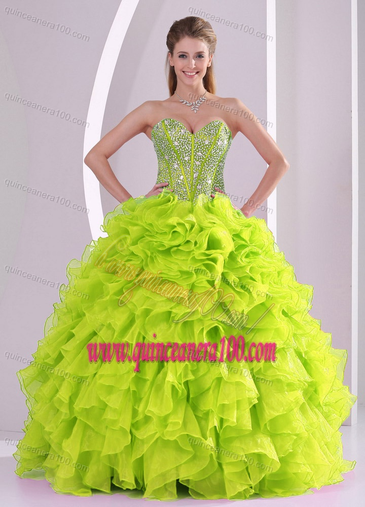 Cute Ball Gown Ruffles and Beading 2013 Fall Quinceanera