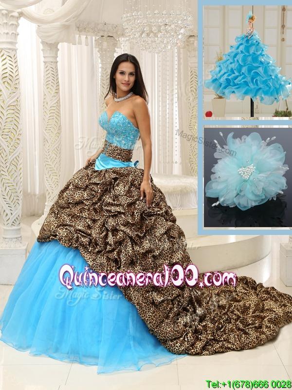 131e9cb5353 2016 Traditional Brush Train Quinceanera Dresses in Multi Color. triumph
