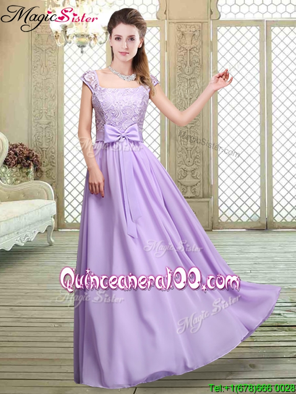 Cheap Square Cap Sleeves Lavender Bridesmaid Dresses with Belt ...