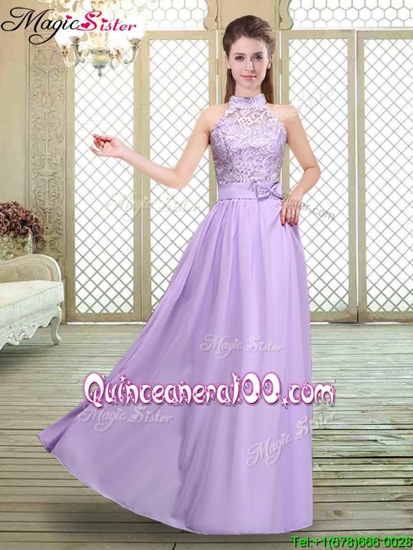 Discount High Neck Lace Lavender Bridesmaid Dresses - Quinceanera 100