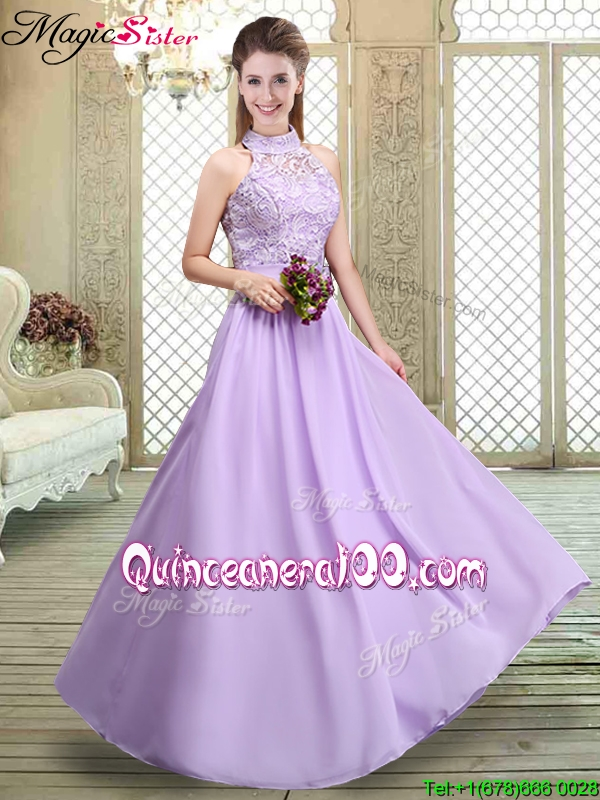 Discount High Neck Lace Lavender Bridesmaid Dresses - Quinceanera 100