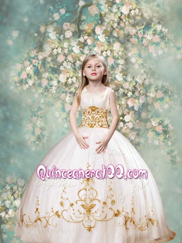 Perfect Ball Gown Scoop Mini Quinceanera Dresses in White and Gold ...