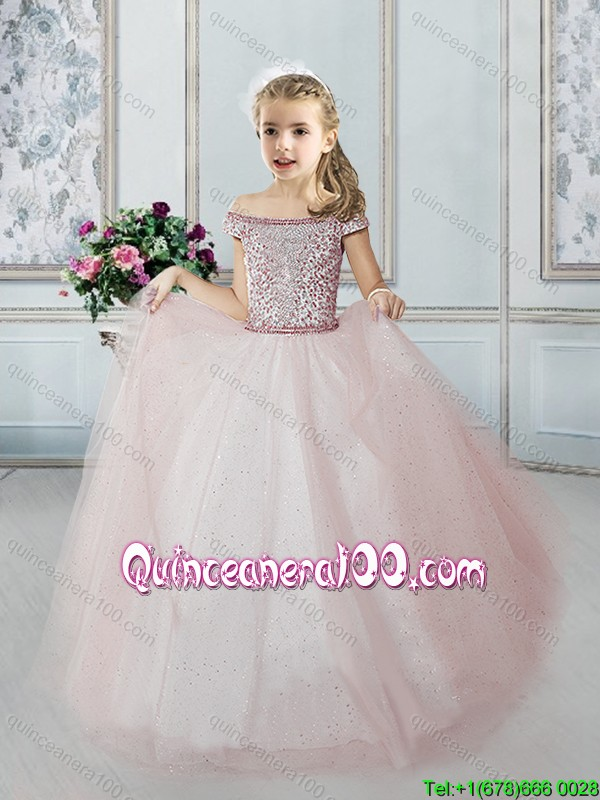 Modern Off the Shoulder Beaded Bodice Little Girl Pageant Dress in Tulle