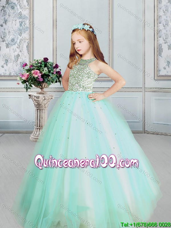 2017 Unique Beaded Bodice Apple Green Little Girl Pageant Dress in Tulle