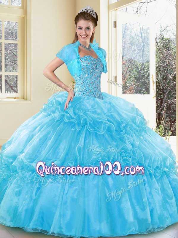 2016 Best Ball Gown Aqua Blue Sweet 16 Gowns with Beading and ...