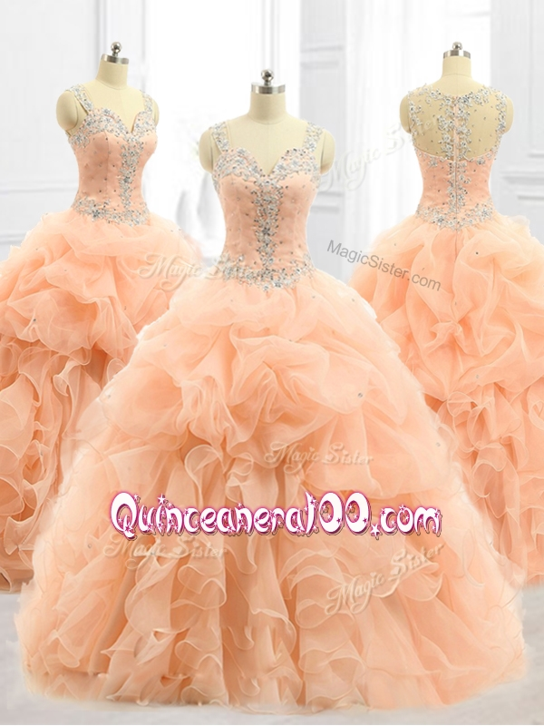 2016 Custom Made Straps Beading and Ruffles Quinceanera Dresses in Peach