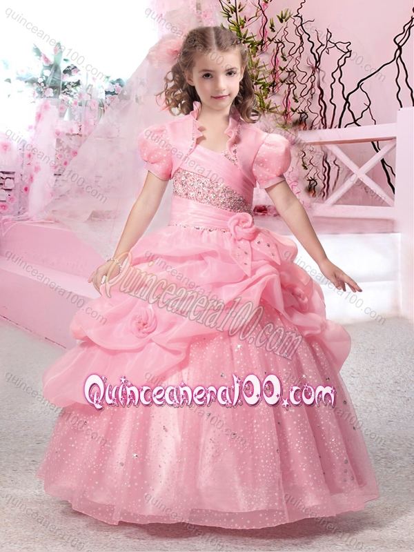Latest Straps Ball Gown Little Girl Pageant Dresse with Beading and ...