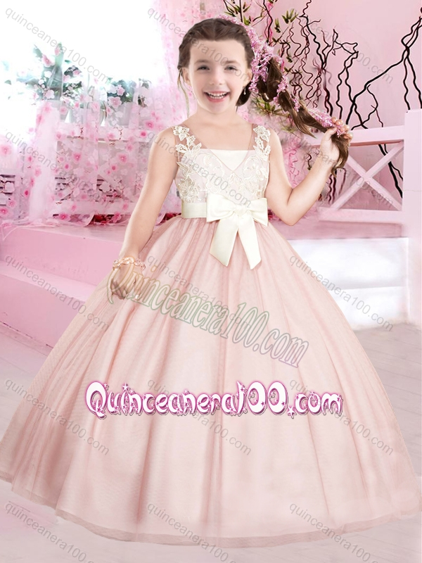New Baby Pink and White Little Girl Pageant Dresses with Appliques ...