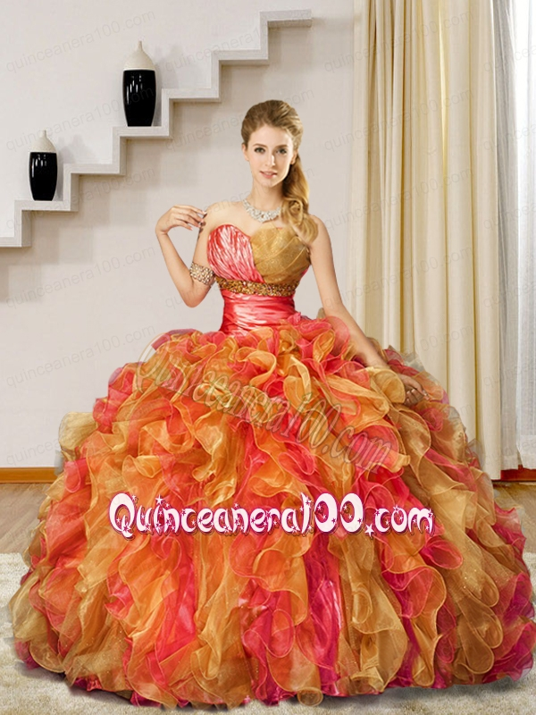 2015 Fashionable Pink and Gold Quinceanera Dress with Beading and ...