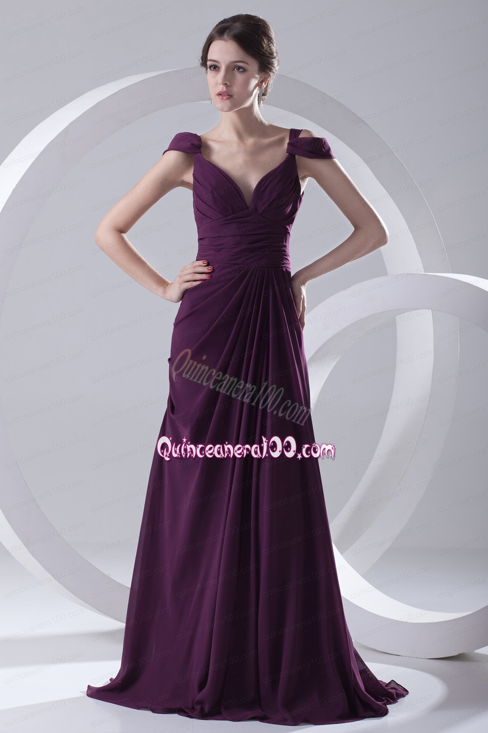 The dress empire - Empire Purple Ruching Straps Cap Sleeves Mother Of The Dress Triumph
