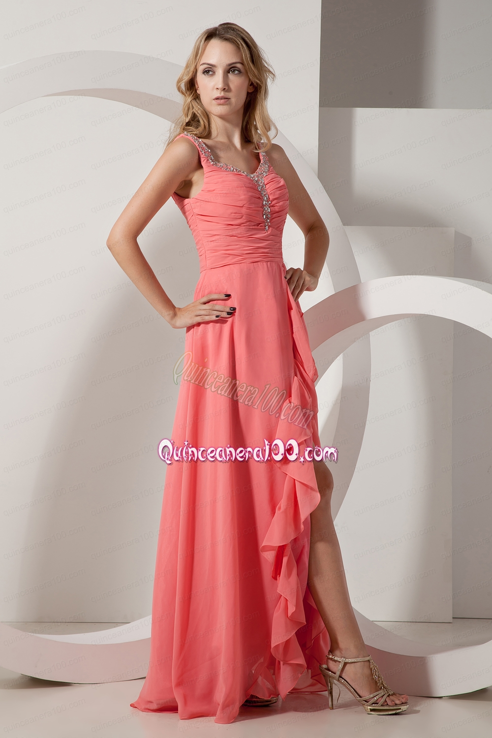 afd37ace55c Watermelon Red Empire V Neck Floor Length Chiffon Beading Mother of the  Dress. triumph